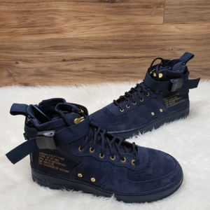 New Nike Air Force 1 Mid Navy Blue Sneakers